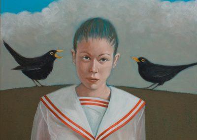 Blackbirds • 2019, Acryl auf Leinwand, 100 x 100 cm