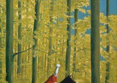 Der Himmel ist keineswegs azurblau • 1998, Acryl auf Holz, 76 x 54 cm