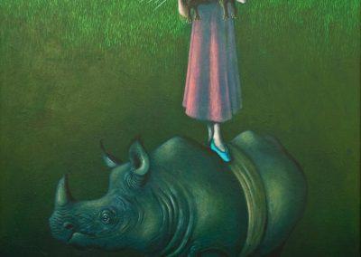 Der kleine König wechselt das Reich • 2001, Acryl auf Holz, 150 x 100 cm