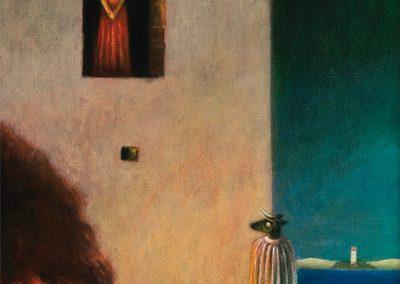 Ist das dein Tee in der Küche? • 1997, Acryl auf Holz, 75 x 43 cm