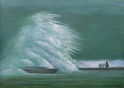 Ruhig wurde es nicht mehr • 1998, Acryl auf Holz, 60 x 83 cm